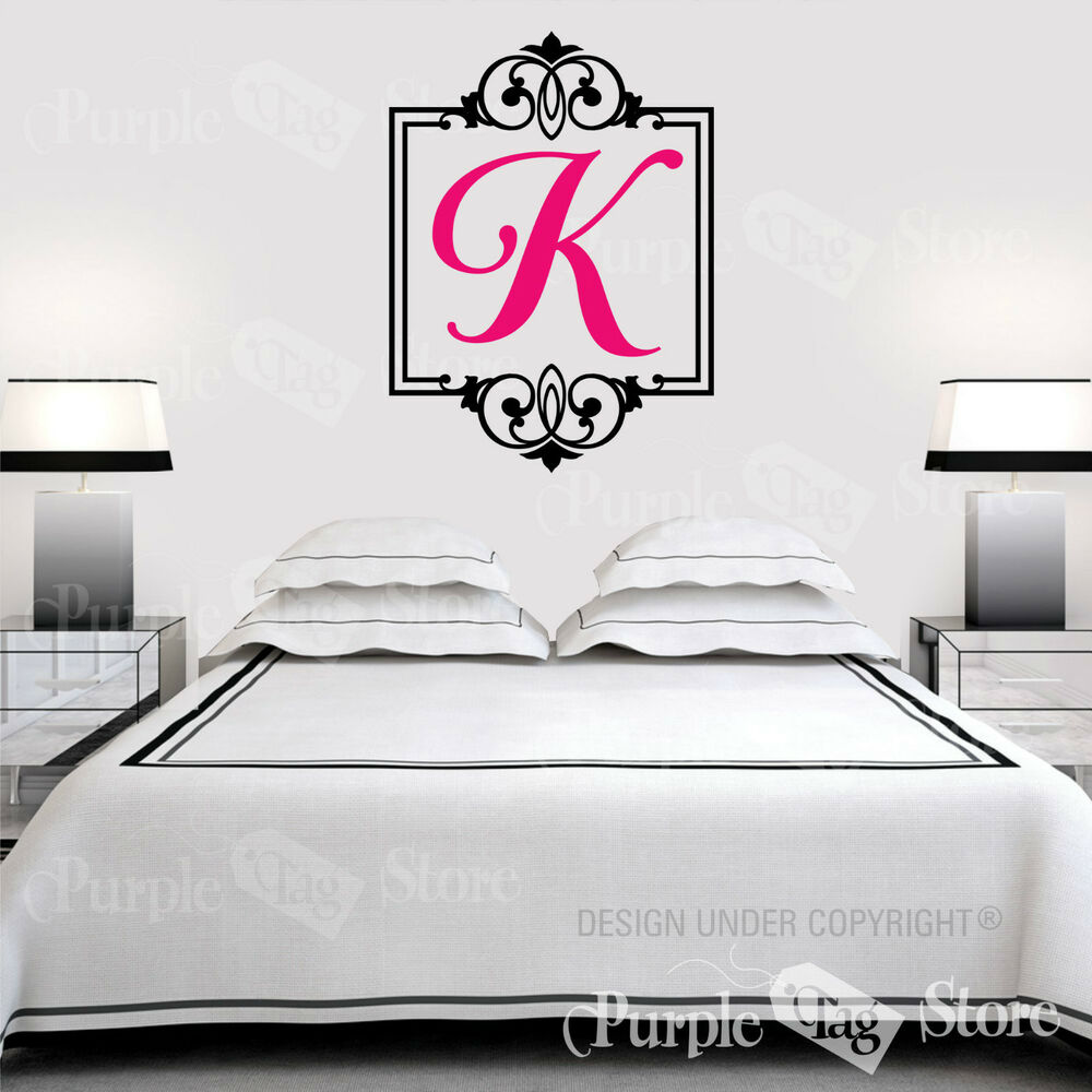 Wall Art Stickers Custom : Monogram initial personalized custom frame scroll vinyl