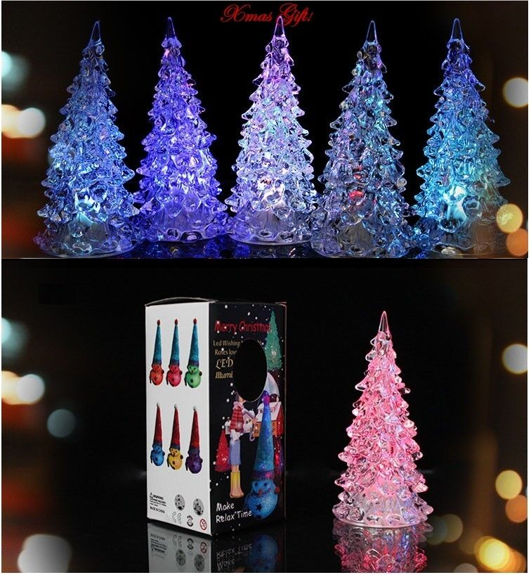 led 7 colors changing acrylic christmas tree night light lamp home decor gift ebay. Black Bedroom Furniture Sets. Home Design Ideas