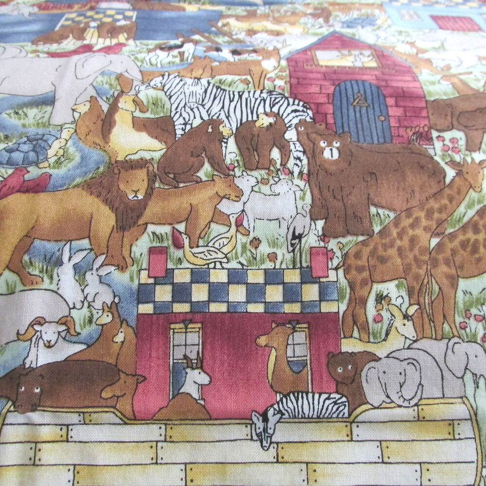 Hi fashion cotton fabric noah 39 s ark baby noah collage for Children s clothing fabric by the yard