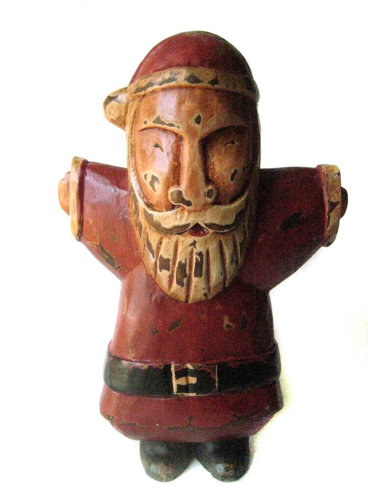 Wood Arm Art ~ Rustic folk art statue santa welcomes with open arms