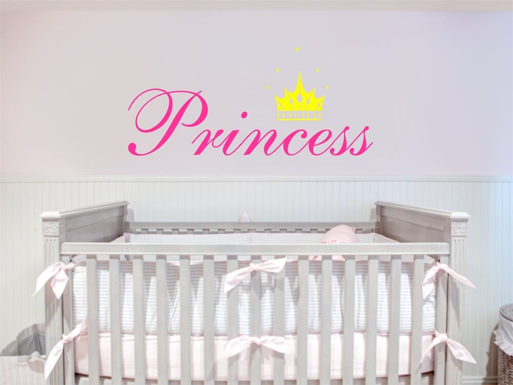 princess crown removable art vinyl wall decal sticker decor baby room nursery ebay. Black Bedroom Furniture Sets. Home Design Ideas