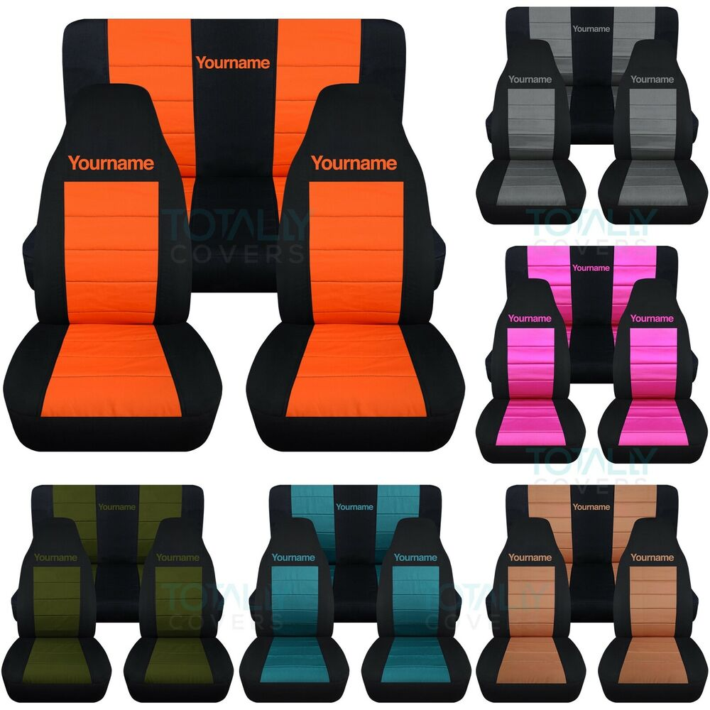 Jeep Sahara Seat Covers >> Jeep Wrangler YJ/TJ/JK 1987-2018 2-Tone Seat Covers w Logo Front & Rear Full Set | eBay