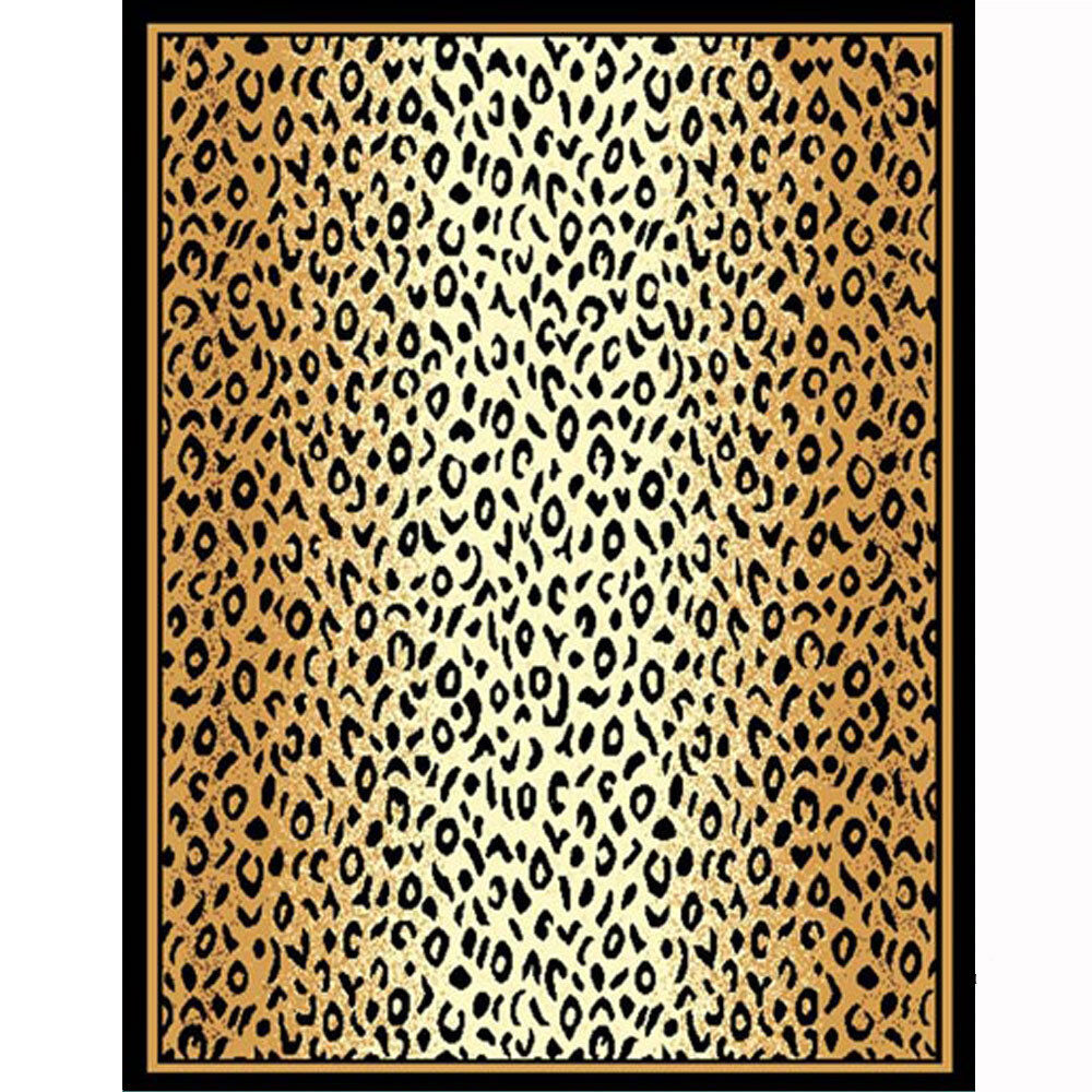 Modern Animal Print Area Rug Leopard Safari Bordered