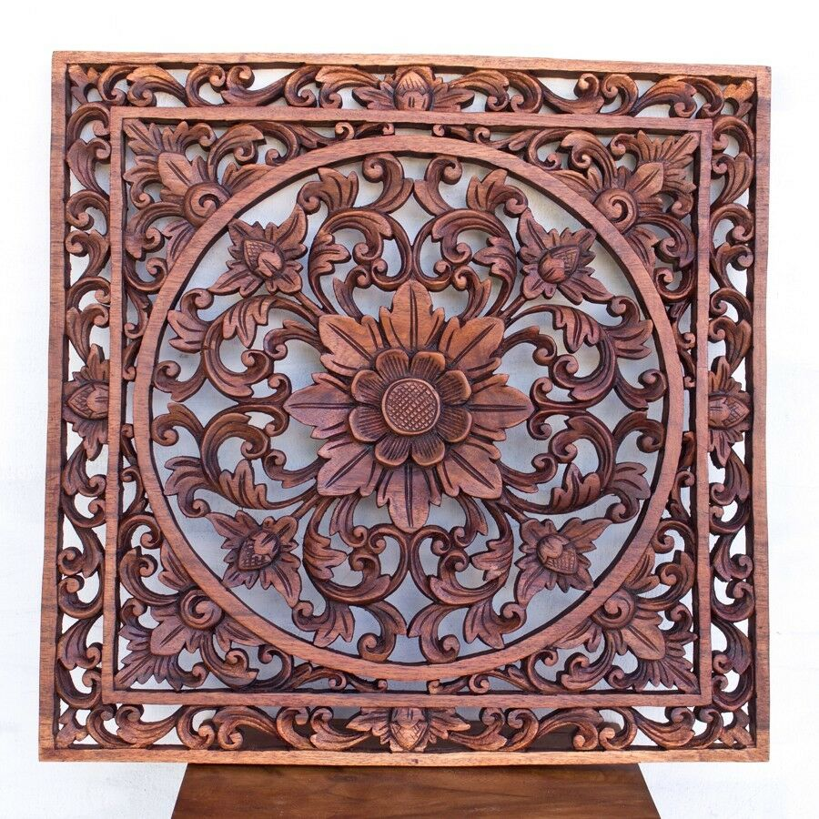 N wood relief panel wall sculpture hand carved lotus
