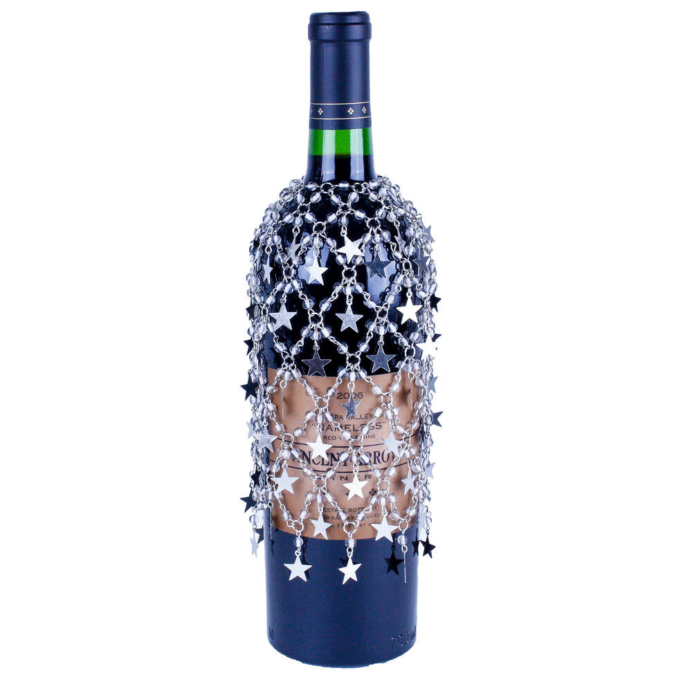 silver beads and silver stars wine bottle cover skirt