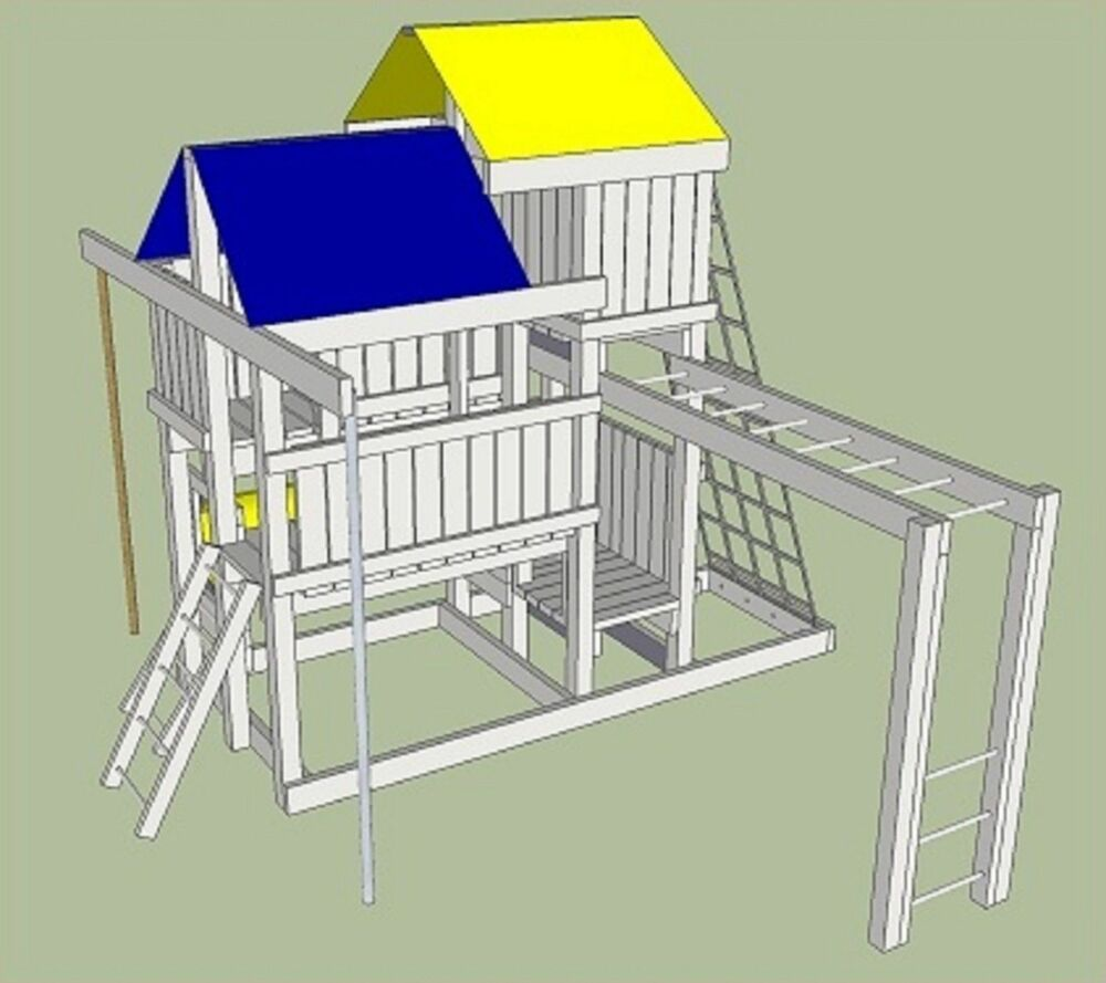 Detailed plans blue prints to build kids play set slide for Play plan
