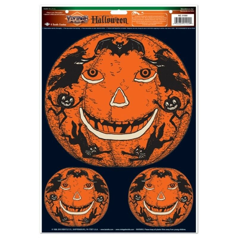 Retro halloween jack o lantern wall window mirror Vintage halloween decorations uk