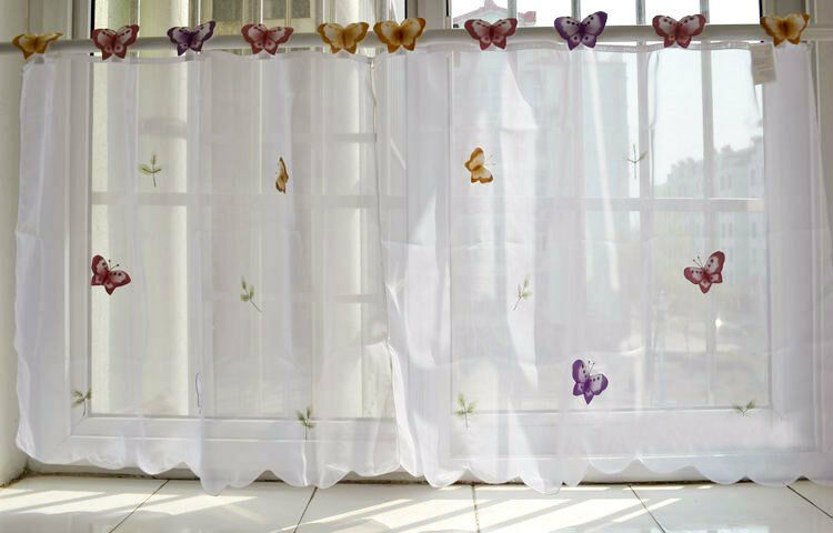 Pair Beautiful 3d Butterfly Embroidery Chic Tape Sheer