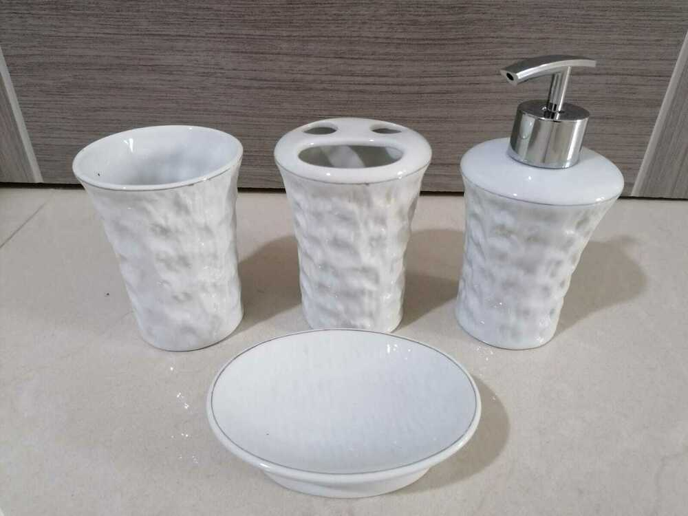 4pc ceramic bathroom accessory set soap dish dispenser for Ceramic bathroom bin