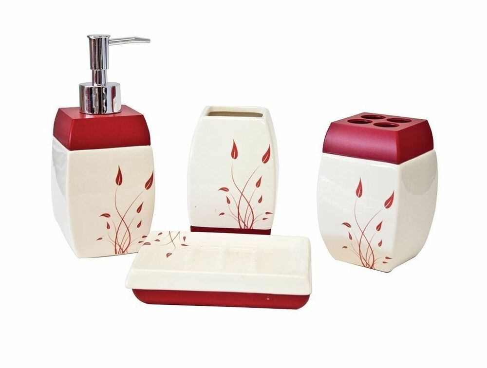 4pc ceramic bathroom accessory set soap dish dispenser toothbrush holder flowers ebay - Bathroom soap dish sets ...