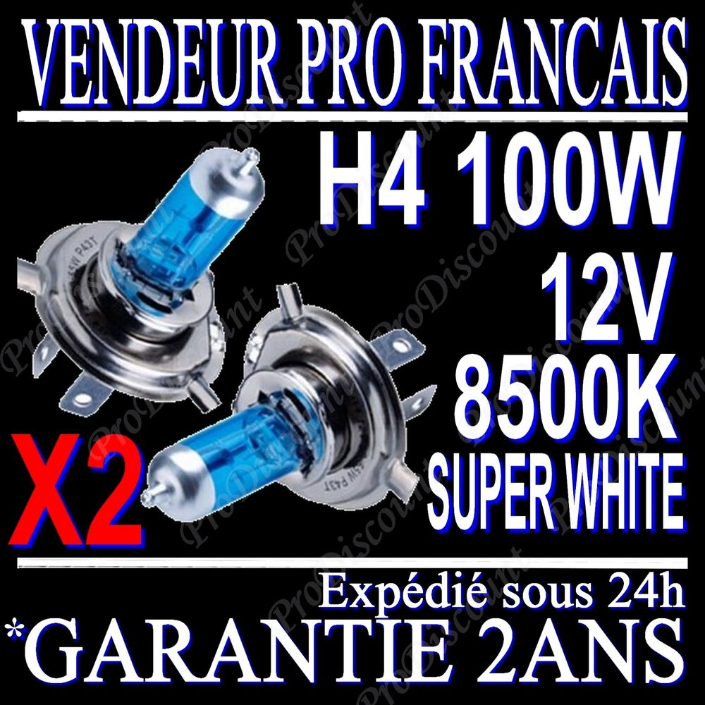 kit de 2 ampoules lampes halogene phare xenon gaz super white h4 100w 8500k 12v ebay. Black Bedroom Furniture Sets. Home Design Ideas