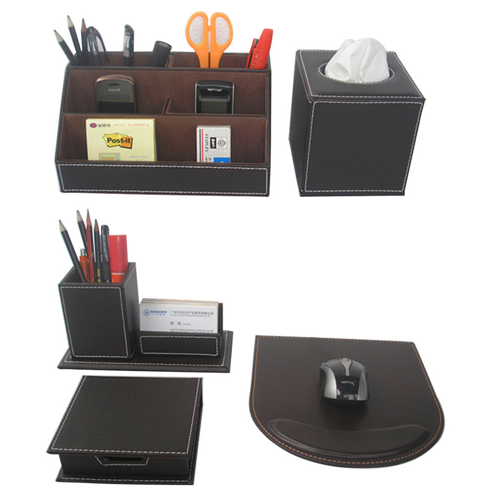 5pcs Set Brown Business Desk Leather Stationery Organizer Box Pens Cards Holder Ebay
