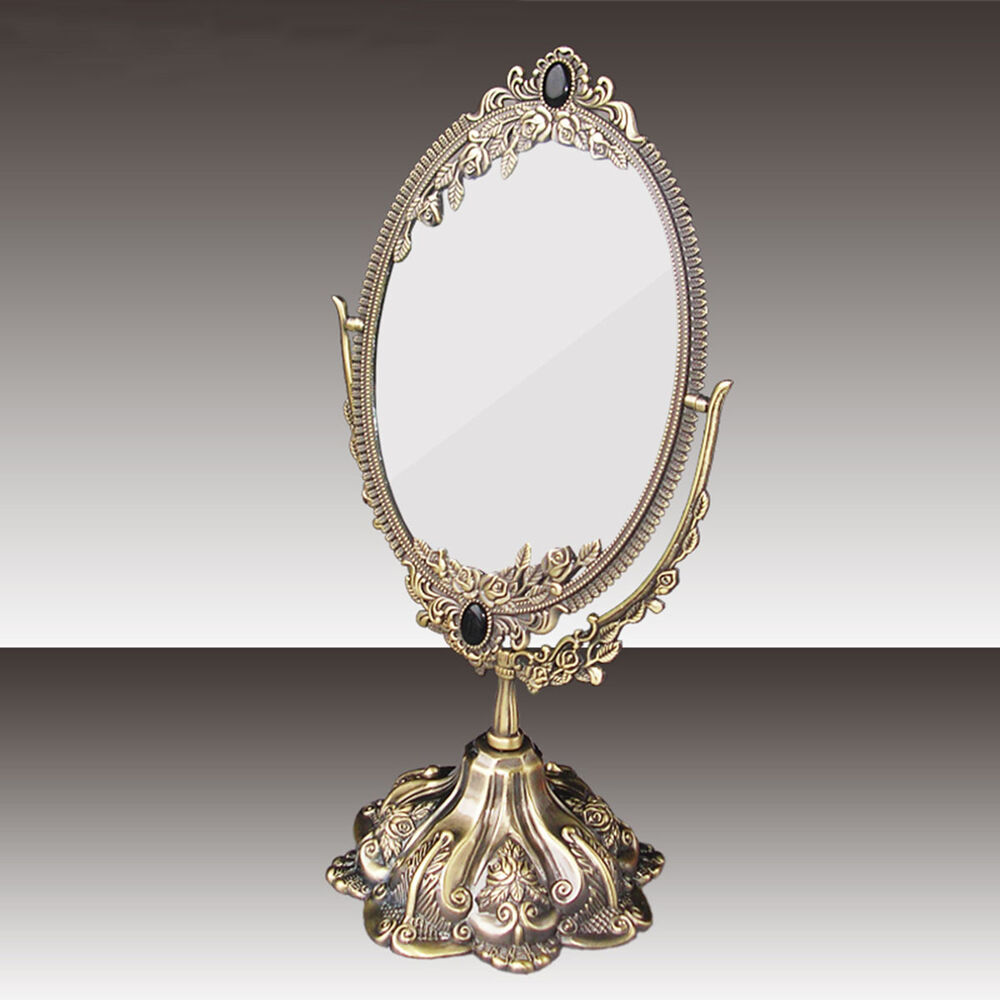 Vintage gifts beauty alloy makeup cosmetic mirror metal for Beauty mirror