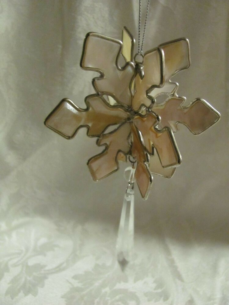 3d snowflake ornament made of shell hanging crystal for 3d hanging snowflake decoration