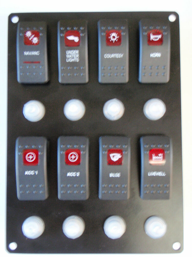 switch panel 8 carling contura rocker switches with. Black Bedroom Furniture Sets. Home Design Ideas