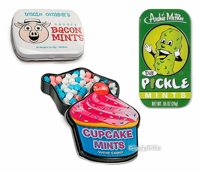 NOVELTY BREATH MINT SET 3PC - CUPCAKE, PICKLE & BACON FLAVORED MINTS ...