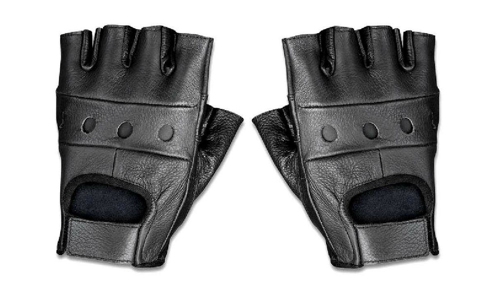 Men's Fingerless Leather Black Cowhide Motorcycle/Bike ...