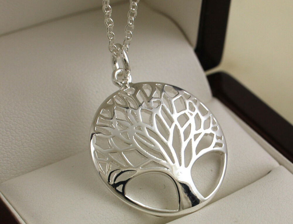 925 Stamped Silver Plated Tree Of Life Pendant With 18