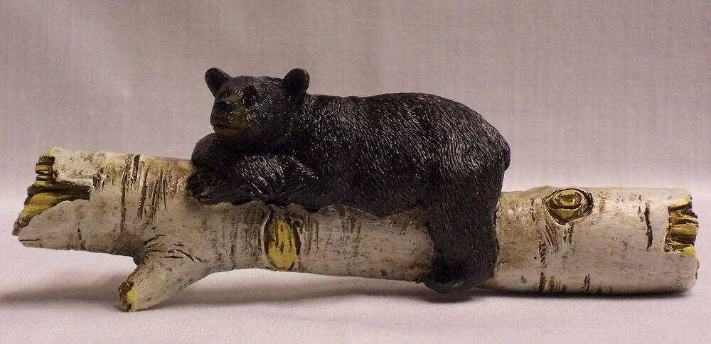 Black Bear On Birch Log Drawer Handle Pull Home Cabin