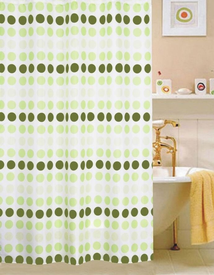 Circles Fabric Shower Curtain Multi Colored Color Green Ebay