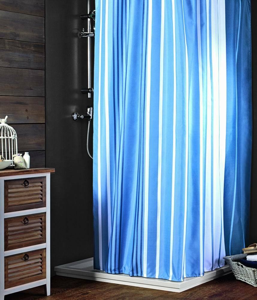 Your blue striped shower curtains would love have