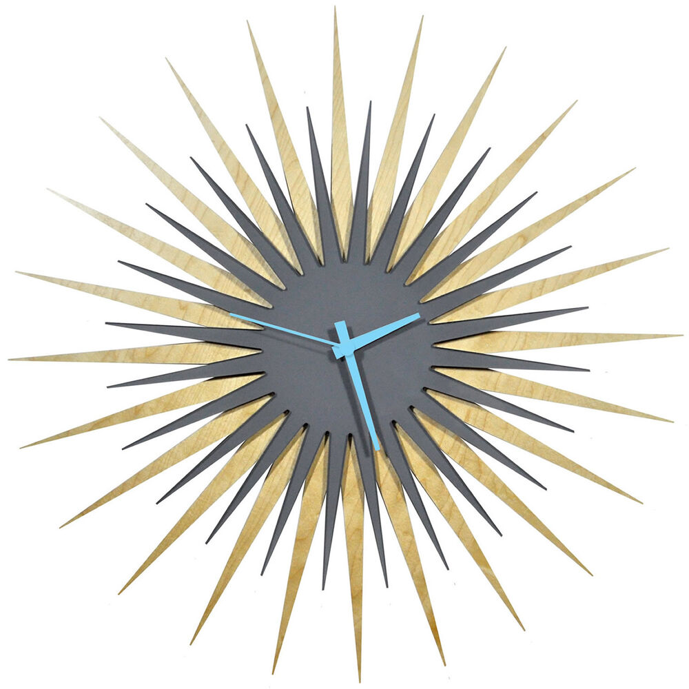 Midcentury modern starburst clock contemporary sunburst for Contemporary decorative accessories