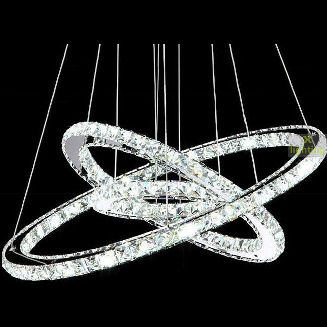 Custom Crystal 3 Rings Pendant Light Ceiling Lamp Galaxy