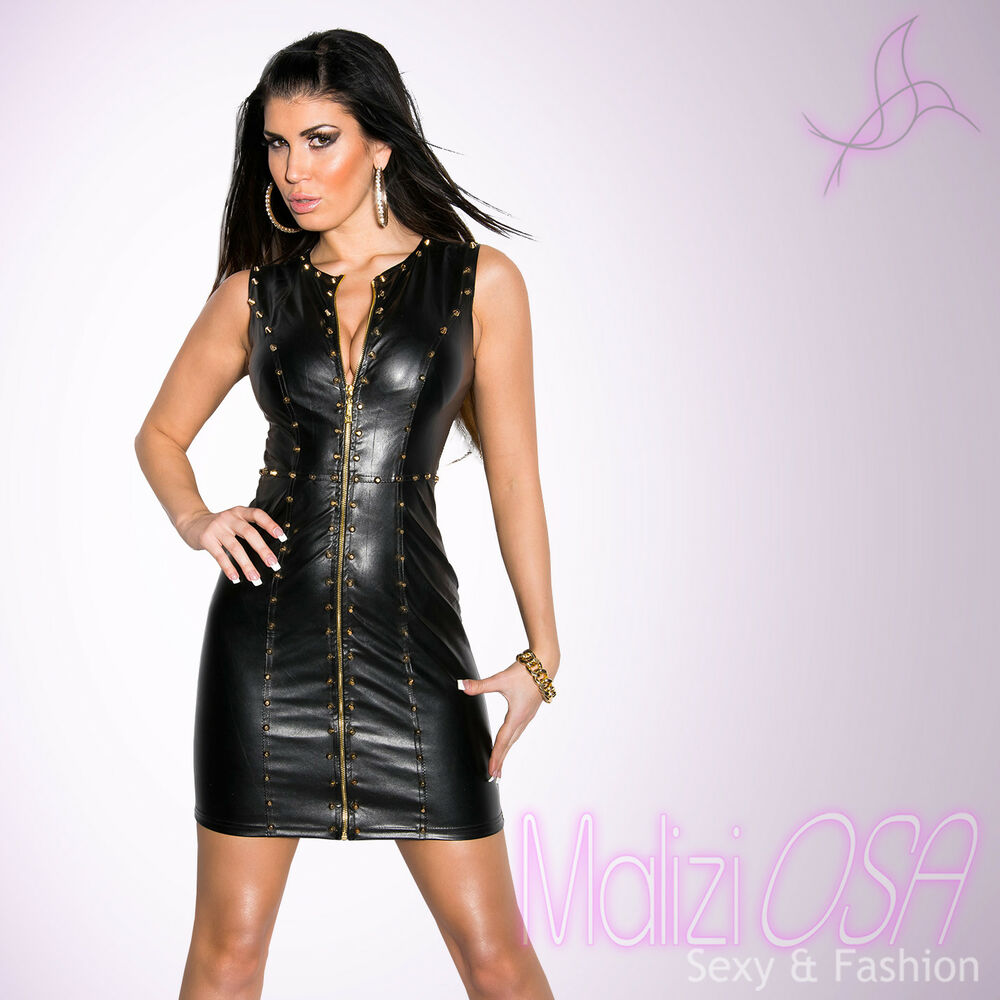 44f7573d7334 Miniabito Donna ecopelle Borchie Zip Sexy Wetlook Vestito Gogo Club Mini hot