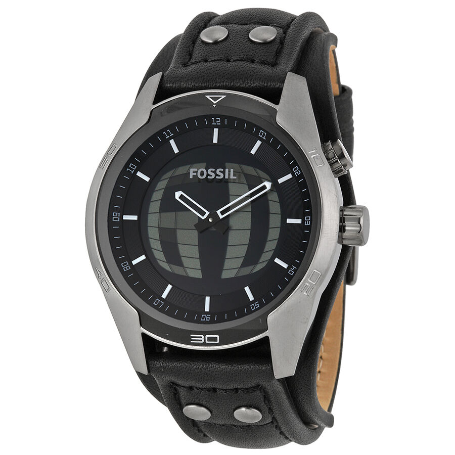 fossil coachman black analog digital black leather