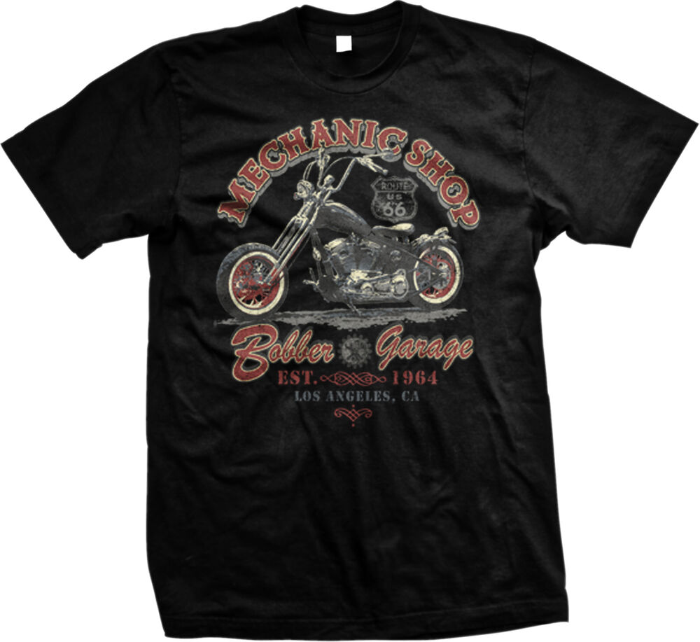 Mechanic shop bobber garage motorcycle us route 66 biker for Shop mens t shirts
