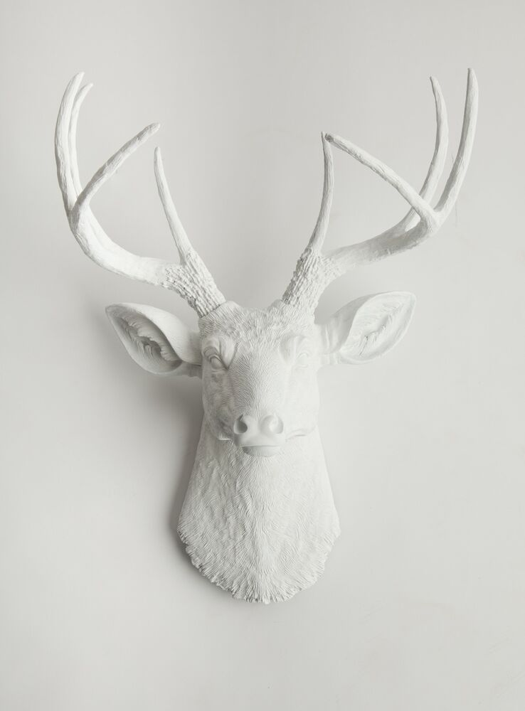 The templeton white resin deer head stag resin white faux taxidermy ebay - Decorative stags head ...