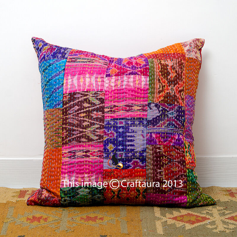 Handmade Vintage Throw Pillows : Indian Handmade Patchwork Sari Pillow Vintage Throw Pillow 16