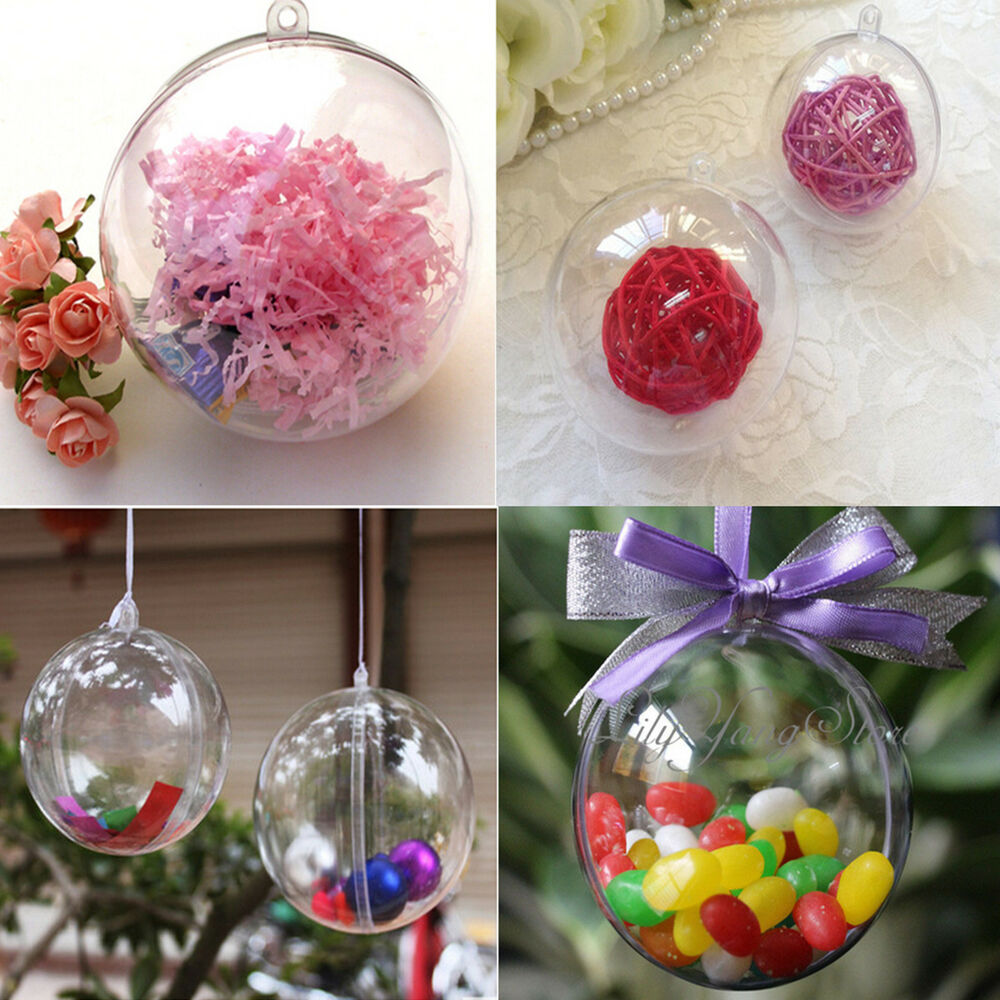8/10cm Clear Plastic Ball DIY Christmas Tree Hanging Bauble Decoration Orname...