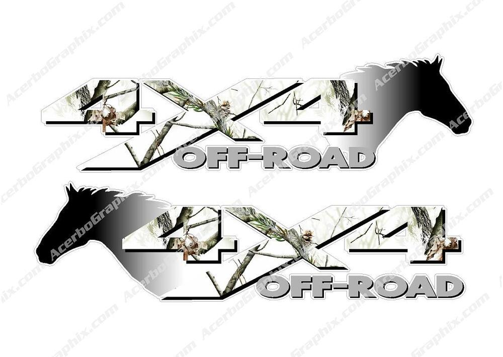4x4 Off Road Winter Camo Horse Head Camouflage Truck Decal