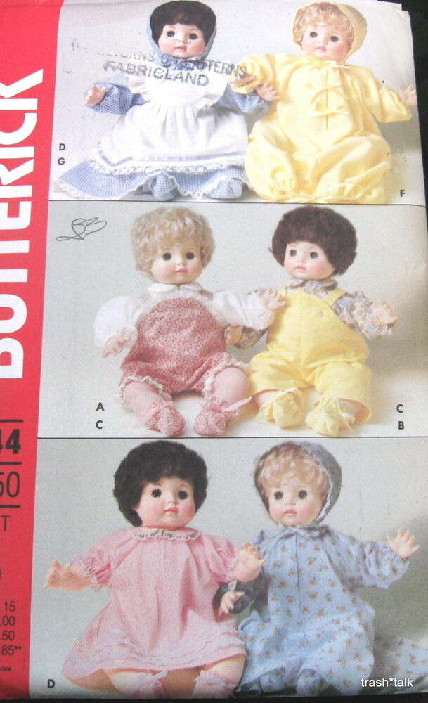 vtg 80s baby doll clothes pattern sleeper dress bonnet. Black Bedroom Furniture Sets. Home Design Ideas