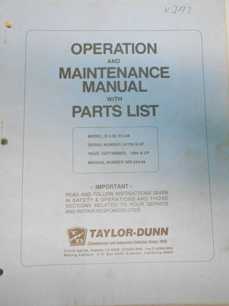 taylor dunn b0 248 36 service replacement parts