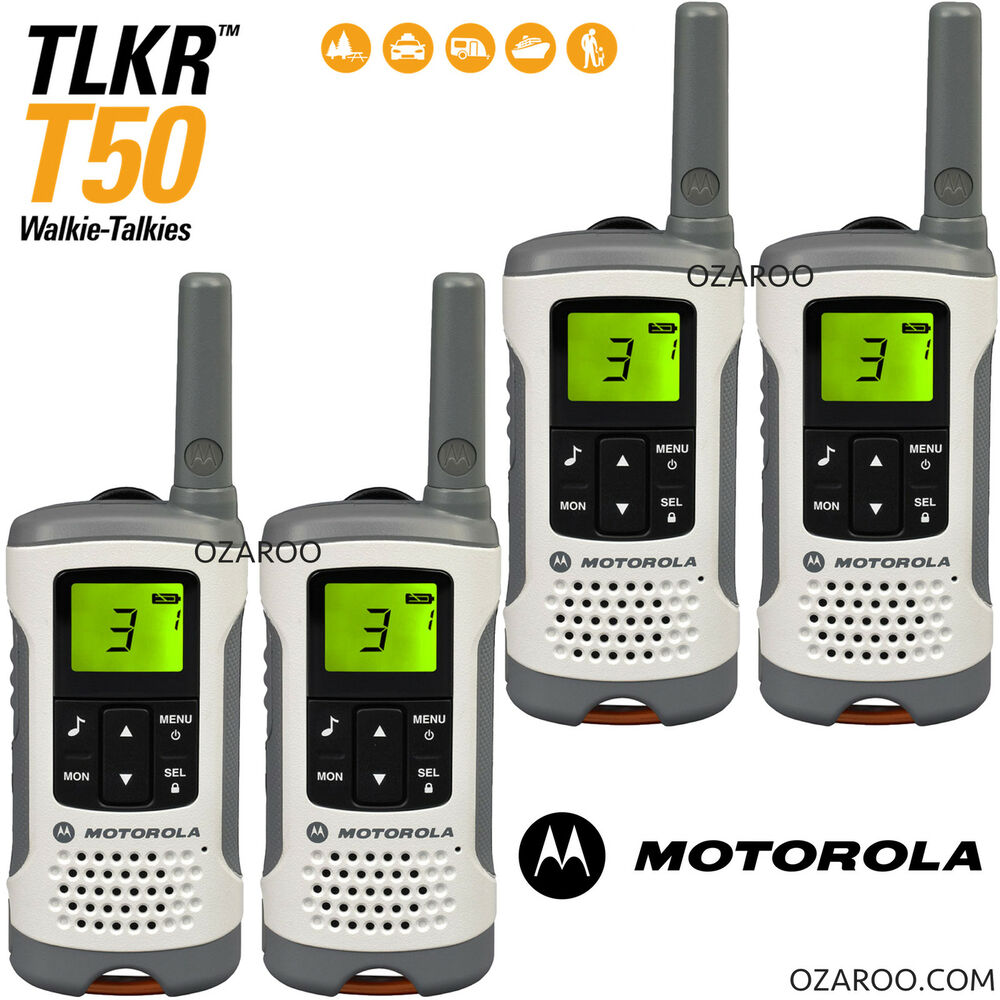 4 x motorola talker tlkr t50 2 way walkie talkie pmr 446 radio quad pack white ebay. Black Bedroom Furniture Sets. Home Design Ideas
