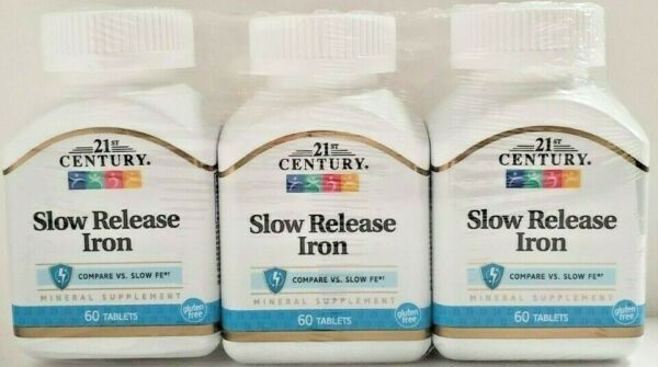 21st Century Slow Release Iron Tablets, 60 Count (Pack of 3) -Expiration 01-2021
