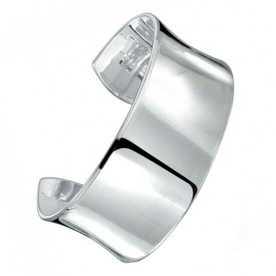 Wide Silver Bracelet: Sterling Silver Smooth Concave Wide Bangle Cuff Fashion