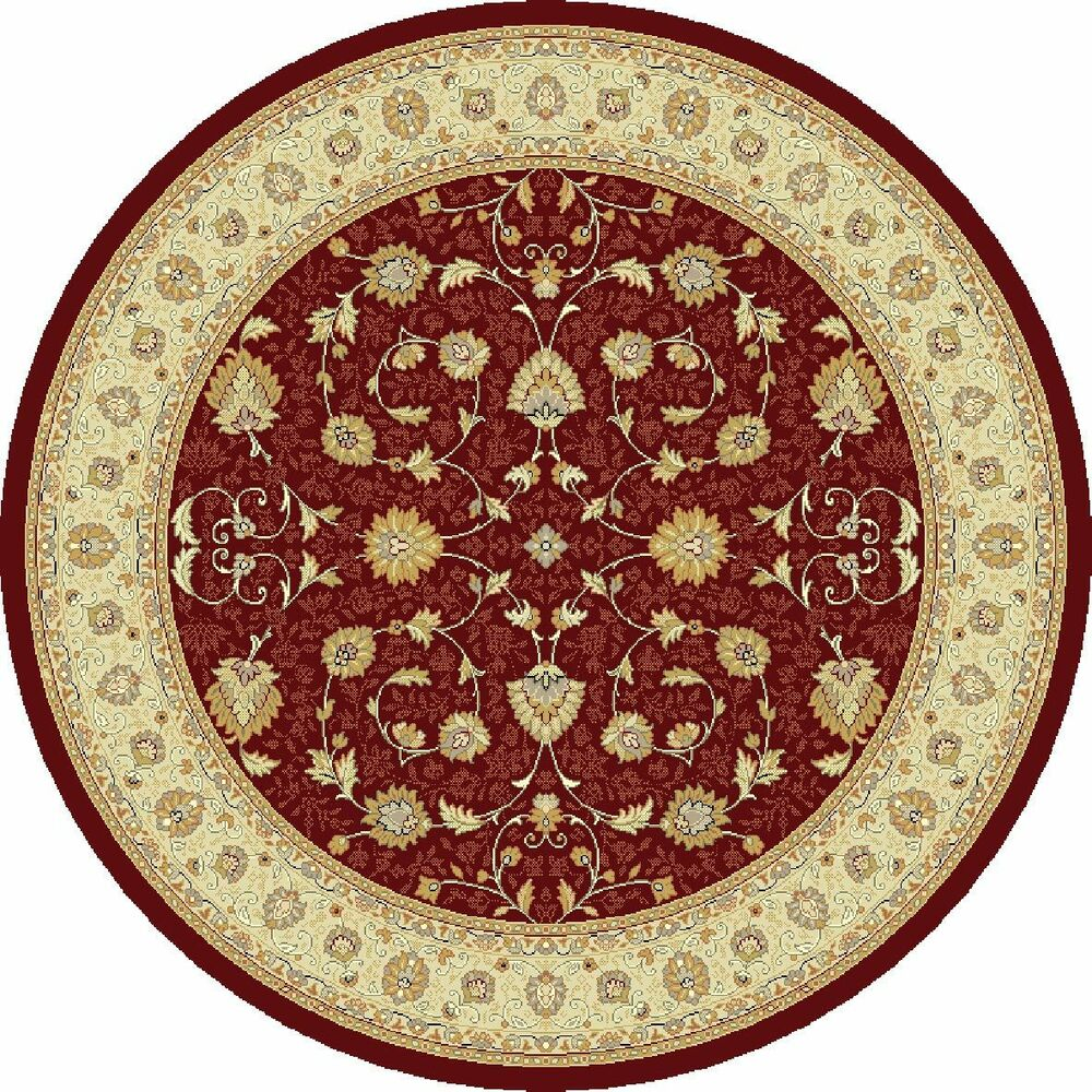 Round Red Beige Circular Traditional Persian Oriental