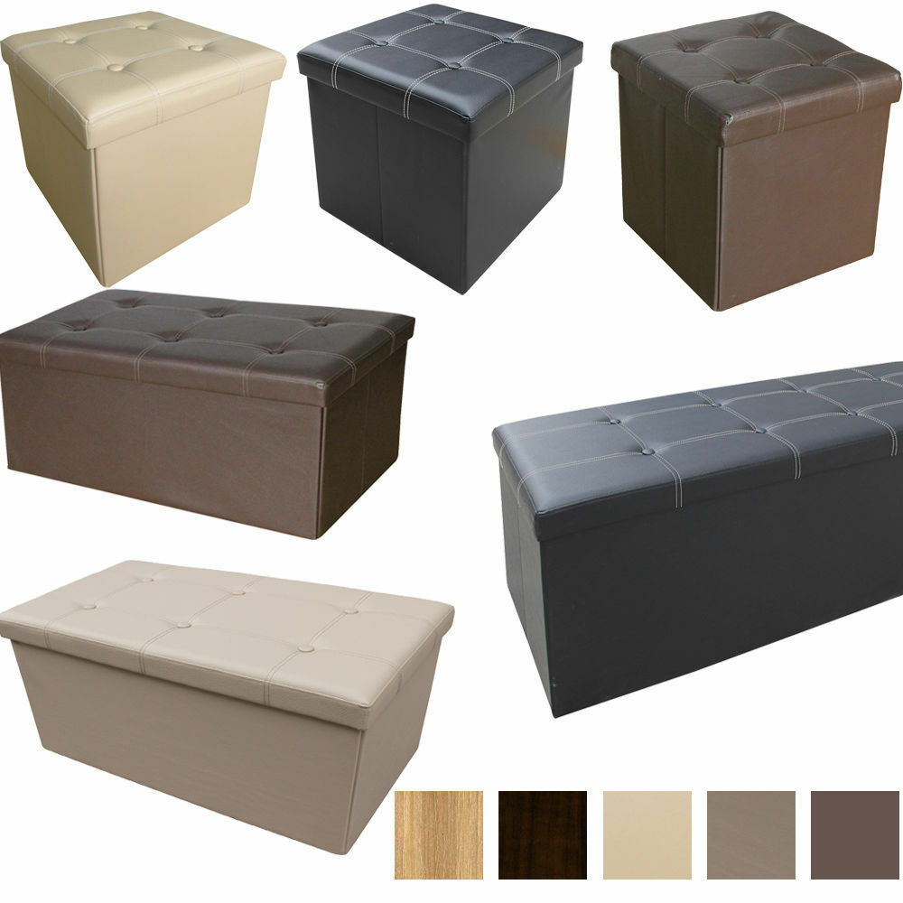large faux leather folding ottoman pouffe seat foot stool. Black Bedroom Furniture Sets. Home Design Ideas