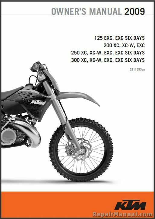 2009 ktm 125 200 250 300 xc xc w exc printed motorcycle. Black Bedroom Furniture Sets. Home Design Ideas