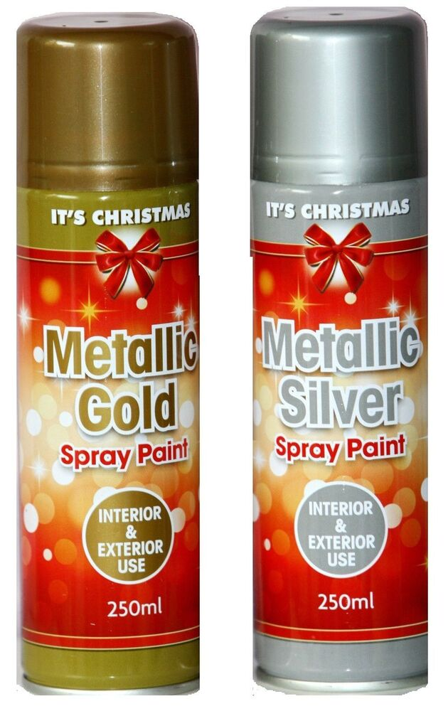 Spray Paint Metallic Gold Silver Can Interior Exterior Craft Xmas Ebay
