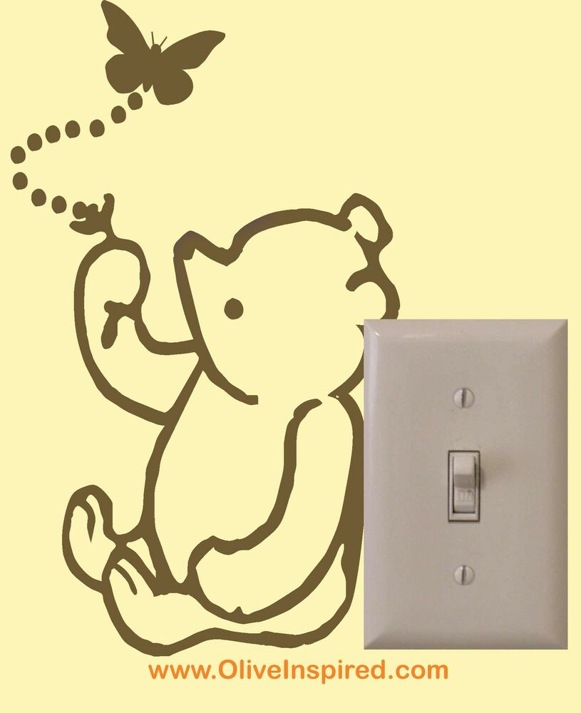 Classic winnie the pooh light switch embelishment vinyl for Classic pooh wall mural