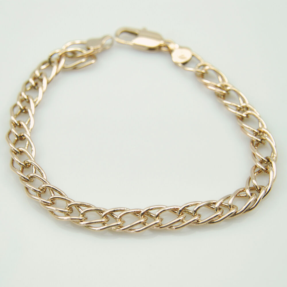 18k Gold GF 7mm Fine Double Diamond Link Chain Bracelet