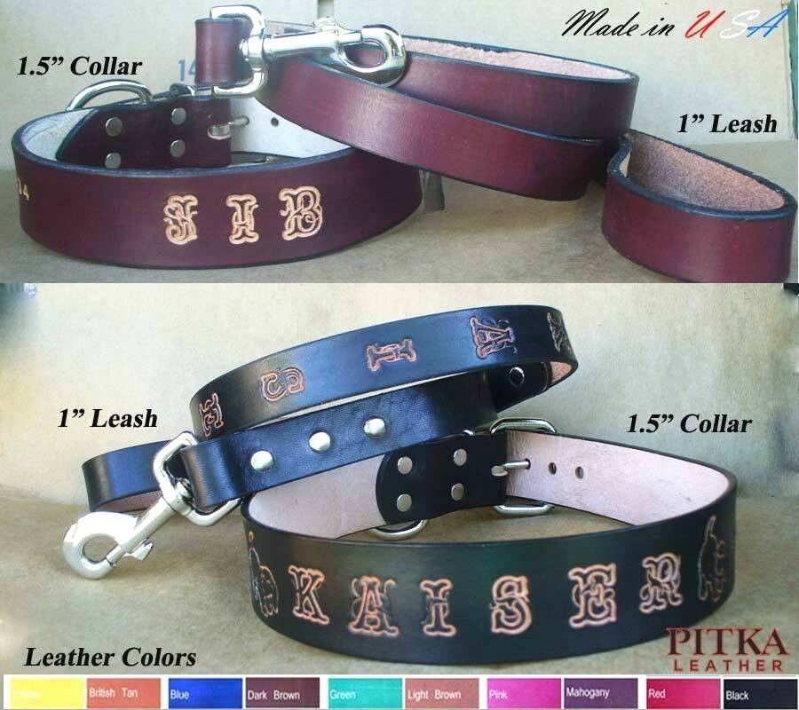 Dog Collars And Leashes Custom Leather Dog Collar Leash