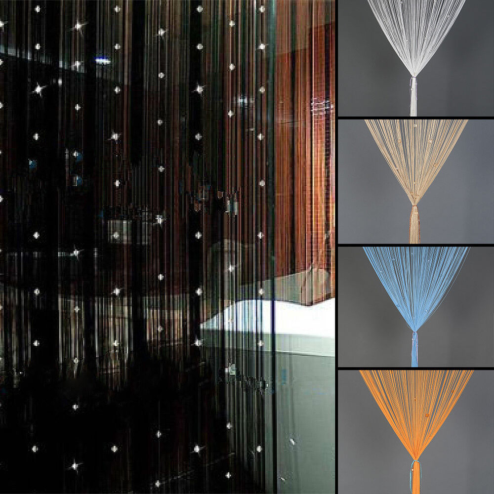 beaded string curtain door divider crystal beads tassel screen panel home decor ebay - Home Decor Curtains