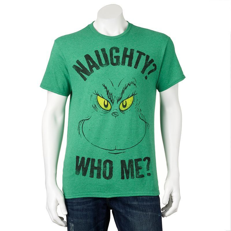 Dr Seuss The Grinch Holiday Tee Naughty Who Me Christmas T Shirt Ugly ...