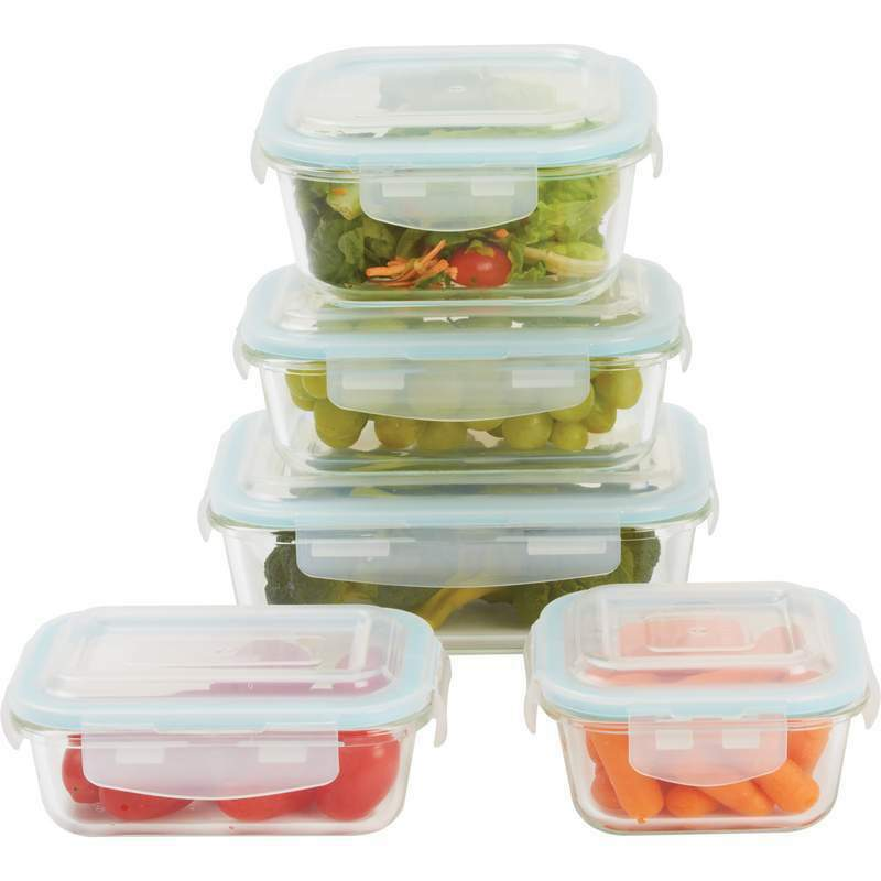 Glass Storage Container Set Locking Lacuisin 10piece Kitchen Easy Lock Lids Ebay