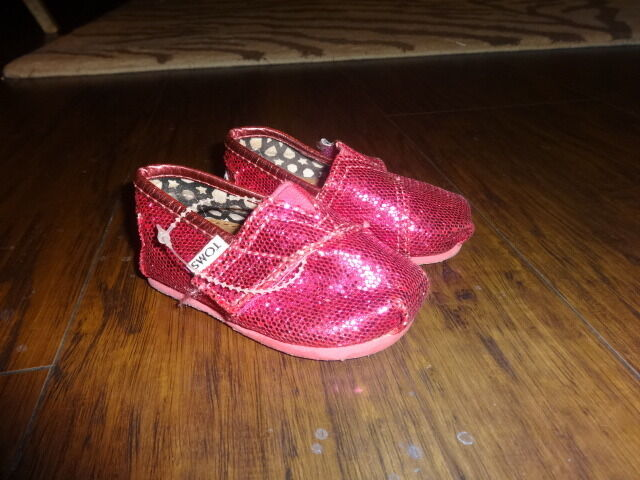 Toms T3 3 Infant Baby Pink Glitter Sparkle Shoes Girls Ebay